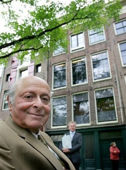 Buddy Elias, in Front of The Anne Frank House in Amsterdam