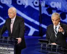 Ron Paul & John McCain at a Republican Presidential Debate in 2007