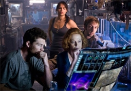 Michelle Rodriguez, Sam Worthington, Sigourney Weaver, & Joel Moore in Avatar