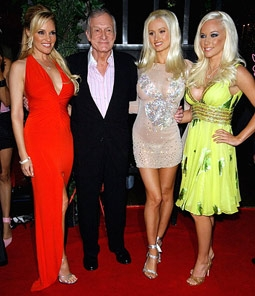 Hugh Hefner with Ex-Girlfriends Bridget Marquardt, Holly Madison & Kendra Wilkinson