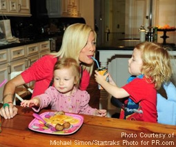 Tori Spelling with Children Stella & Liam