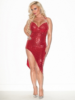 Coco Austin in a Sequins Dress from Her Licious Clothing Line