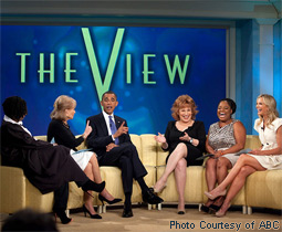 Whoopi Goldberg, Barbara Walters, President Barack Obama, Joy Behar, Sherri Shepherd & Elisabeth Hasselbeck on The View