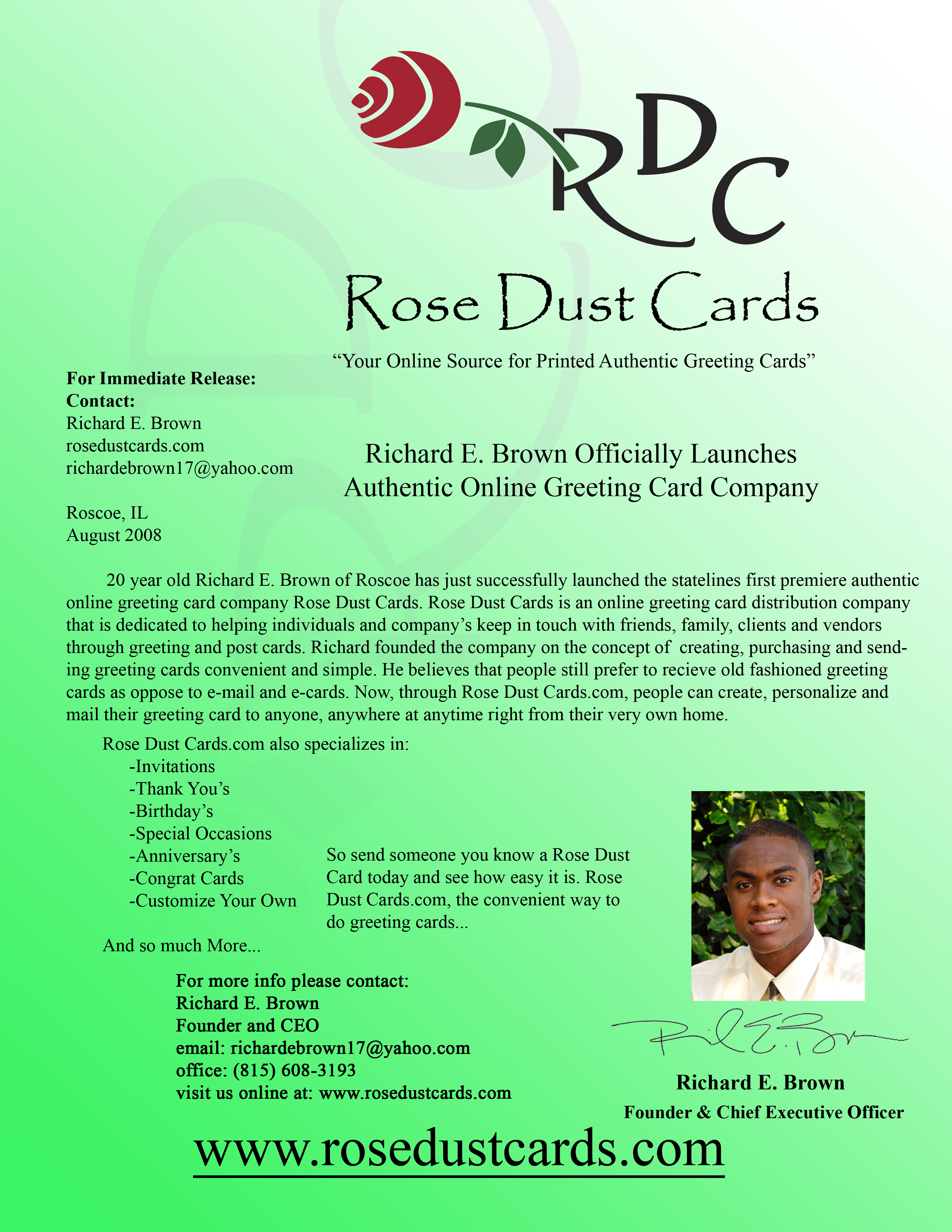rose dust cards official press release - Greeting Cards Com