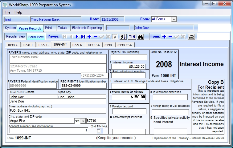 Worldsharp 2008 Tax Form Software For All 1098s 1099s 5498s And