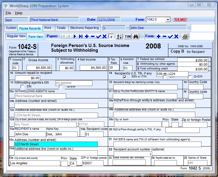 Worldsharp 1042 S Tax Form Preparation System For 2008 Now