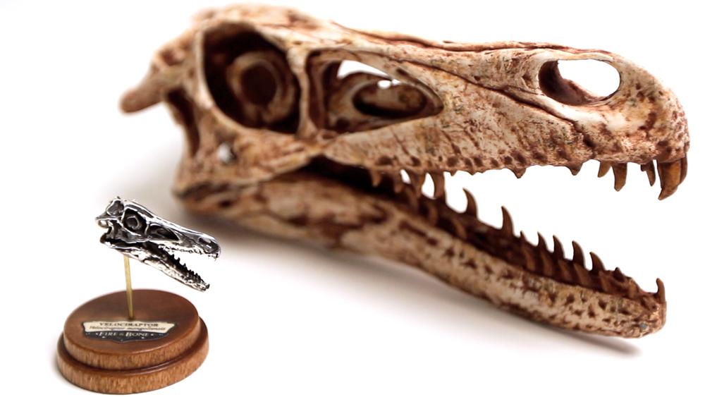 Velociraptor Skull Dinosaur Cufflinks