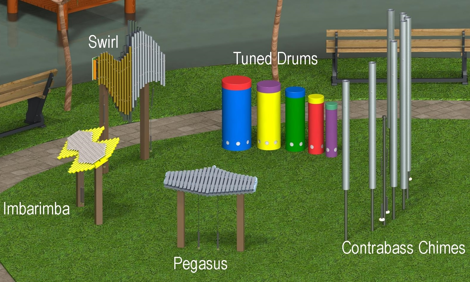 Freenotes Harmony Park Instruments Are Percussion Played With Mallets They Incorporate Simplified Musical Principles Ensuring Each Player S