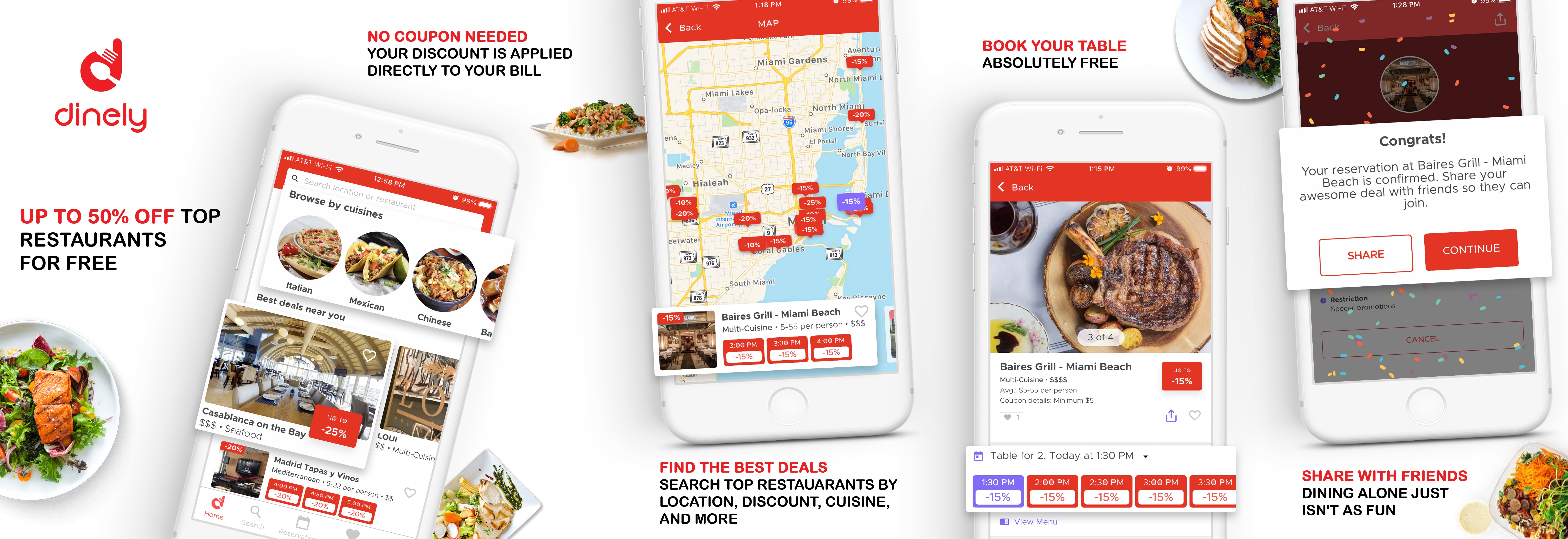 Free App, dinely, Gets You Massive Discounts at Restaurants