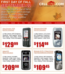 Fall Season Specials on Unlocked Cell Phones Available Exclusively from Cellhut