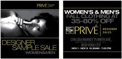 Prive' Designer Sales Presents Fall / Winter 2008 NYC Sample Sale