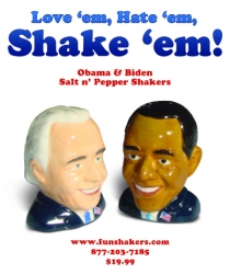 Fun Shakers LLC Want to Shake Up Your Dinner Parties with Obama and Biden Salt and Pepper Shakers, Available Now