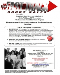 Jennifer & Gary Ricco of Keller Williams Along with Other Top Professionals Will be Hosting a Free Pre Foreclosure Homeowner Outreach Assistance Seminar on March 6, 2010