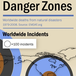 HomeownersInsurance.org's Danger Zones - Worldwide Deaths from Natural Disasters (Infographic)