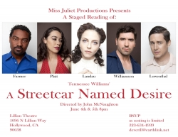 """Miss Juliet Productions Presents a Staged Reading of """"A Streetcar Named Desire"""""""