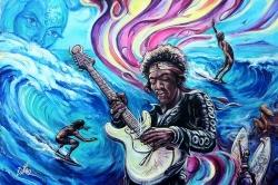 World Premier of Art by Dano Original Painting Commemorating the 40th Anniversary of Jimi Hendrix Rainbow Bridge Featuring Surf Legend David Nuuhiwa