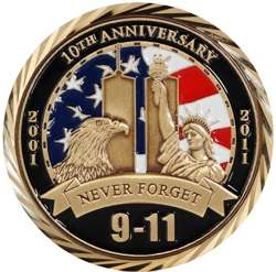 9/11 10th Anniversary Challenge Coin Raising $911,000 for U.S. Military and First Responders via USO and NYPD