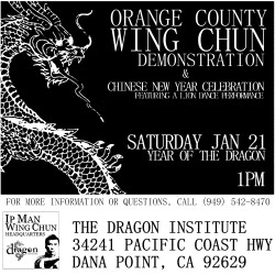 Orange County Wing Chun School to Hold Chinese New Year Celebration