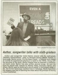 Cabot Barden Holds Seminar for Book Writing and Publishing at Nichols Lawson Middle School in Sylacauga, Alabama for Aspiring Writers in the Sixth and Seventh Grades