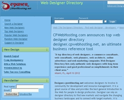 CPWebHosting.com Announces Top Web Designer Directory Designer.cpwebhosting.net, an Ultimate Business Reference Tool