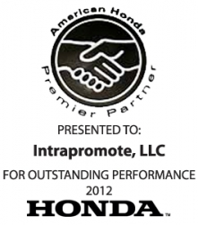 American Honda Recognizes Intrapromote, LLC with Second Premier Partner Award
