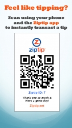 Ziptip, Inc., Mobile Payments for Tips and Gratuities, Announces a New Way for Restaurant Waitstaff to Receive Tips
