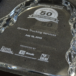 Grimes Trucking Services Named One of Jacksonville's 50 Fastest Growing Companies