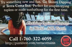 The Desert Sun Newspaper Gives The Terra Cotta Inn Clothing Optional Resort and Spa a 2014 Best of the Valley Award for Being the Best Boutique Hotel in Palm Springs