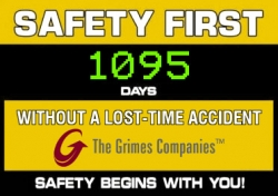 Grimes Warehousing Services Celebrates 3 Years of Safe Days