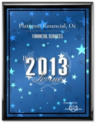 Platinum Financial, OC Receives 2013 Best of Irvine Award