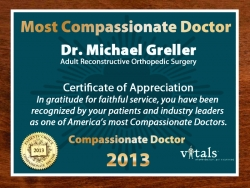 Freehold, NJ Orthopedic Surgeon Dr. Michael Greller Honored with a Vitals 2013 Compassionate Doctor Award for Second Consecutive Year