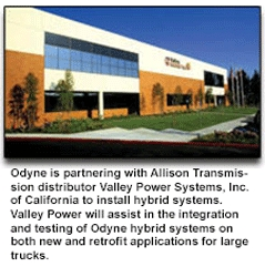 Odyne Systems, LLC Partners with Allison Transmission's California Distributor, Valley Power Systems, Inc., for Plug-In Hybrid Installations