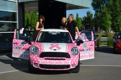 Each One, Tell One Receives a Pink-and-White Polka Dot Mini-Cooper to Help with Dense-Breast Tissue Awareness
