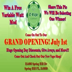 The E Vape Company, a New E Cigarette Shop Opening in Spring Hill, FL