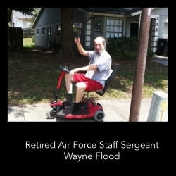 Scooter Vacations, Orlando Scooter Rental Company, Provides Veteran Air Force Staff Sergeant a Refurbished Scooter Provided by a Disney World Scooter Rental Customer