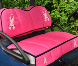 Golf Cart Pink Pad Promotes Play-For-P.I.N.K Fund Raising for Breast Cancer