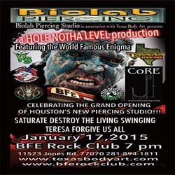 Biolab Piercing Studios Body Suspension Extravaganza Featuring Enigma, C.O.R.E., Hosted in Houston Texas by Texas Body Art Tattoo Studio