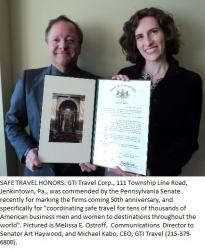 Pennsylvania Senate Honors Major Travel-Meeting Plan Firm