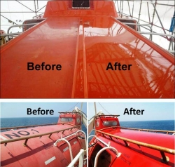 Nano-Clear® Coating Restores Color and Gloss Back Into Highly Oxidized Carnival Life-Boats