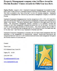 Property Management Company Wins 1st Place Award in Florida Readers' Choice Awards for Fifth Year in a Row