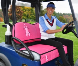 Unique Pink Golf Cart Seat Pad Promotes Fund Raising for Breast Cancer