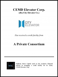 Madison Street Capital Arranges Credit Facility for City Elevator