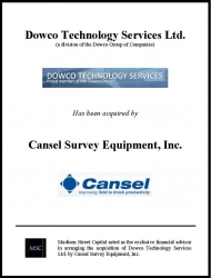 Dowco Technology Services Has Been Acquired by Cansel Survey Equipment, Inc.