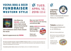 VOENA Kicks Up Its Heels and Raises Funds for Its Music Programs with an Evening of Dancing, BBQ and Beer on Tuesday, April 12 at 5:30 pm at the Lagunitas Brewing Co.