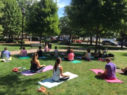 Free Yoga in the Park Sponsored by Shiva Shanti Yoga School in Rutherford, NJ at Hutzel Memorial Bandshell 8:00 to 9:00 AM on Saturdays 2017