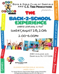 "Boys & Girls Club of Garfield and C.S. Tree Productions Presents ""The Back-2-School Experience"""