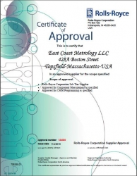 ECM Awarded Official Approved Supplier Certificate of Measurement and Programming Services from Rolls-Royce Corporation