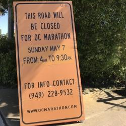 Temporary Morning Road Closures for U.S. Bank OC Marathon