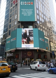 Margaret Mazzola-Nielsen, MPA, CMT Honored on the Reuters Billboard in Times Square in New York City by Strathmore's Who's Who Worldwide Publication