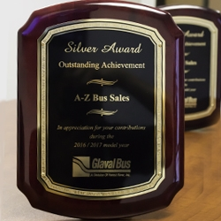 A-Z Bus Sales Awarded Sales Excellence Award from Glaval Bus